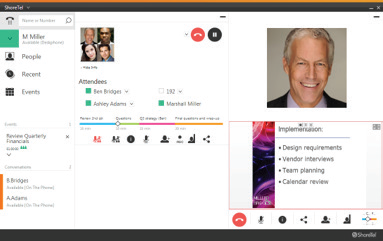 Online meetings can include peer-to-peer video as well as desktop sharing. It's easy to expand the Connect app view to see video and sharing full screen.